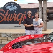 JeanetteandJoe Hansen with  electronic version of Vette Visions rumbles through Sturgis SD.jpg